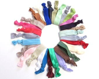 30 solid color elastic hair ties ribbon elastic hair ties ponytail holders