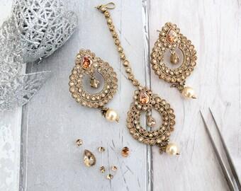 Antique Gold Zircon Stone Indian Bollywood Tikka Headpiece & Earring Set Wedding Bridal