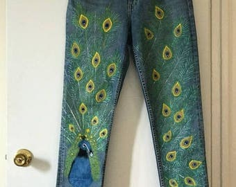 Hand painted H&M jeans (size 31) by artist V.Kokorev