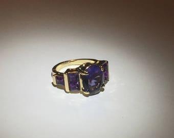 Cubic Zirconia Purple Gemstone Gold Ring Size 7