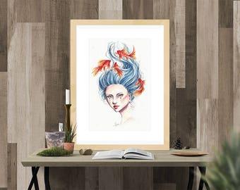 Goldfish Portrait Watercolor Fine Art Print
