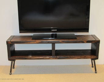 Reclaimed Wood Media Console with Pipe Legs,Industrial Wood Media Console,Media Console with Pipe Legs