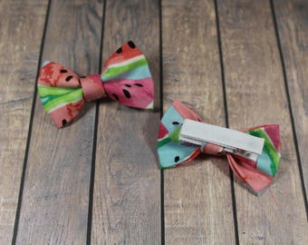3 Inch Watermelon Hair Bows (Ribbon Covered Alligator Clip or Nylon Headband)