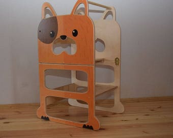 Montessori kitchen helper ''Speedy dog'' , step stool, table and chair.