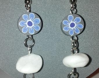 Blue Flower Heart and Stone Earrings