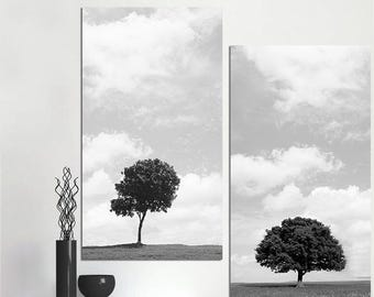 Unframed Black And White Style Canvas Painting HD Printed A lonely Tree on The Plain Home Decor Wall Art Pictures