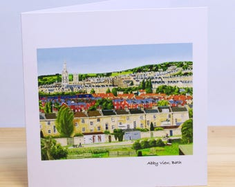 Abby View, Bath: Greeting card, quality reproduction of an original painting, (Free Post anywhere in the UK).