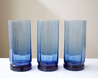 Vintage Blue Glass Drinking Cups - Set of 3