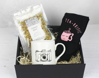 Tea Themed Gifts - Boxette for Tea Lovers - Camomile Tea Leaves - Luxury Socks - Camera Mug - Gifts for Him - Gifts for Her - Christmas Gift
