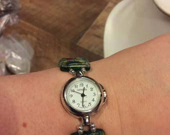 Silver and Green stretch bracelet watch