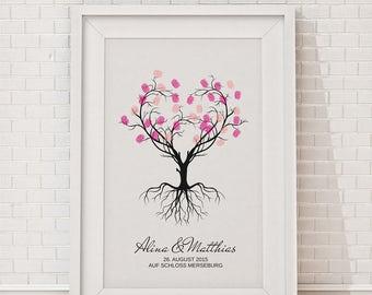 "wedding fingerprint tree guestbook wedding confirmation ""Newlyweds"" 30x40cm"