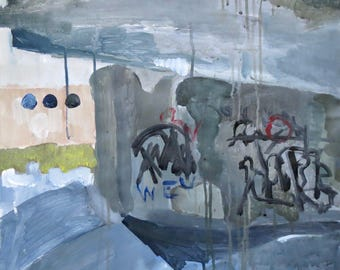 Acrylic painting Deserted place, acrylic on paper, original, grey, graffiti, wall art
