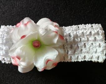 White Flower infant headband