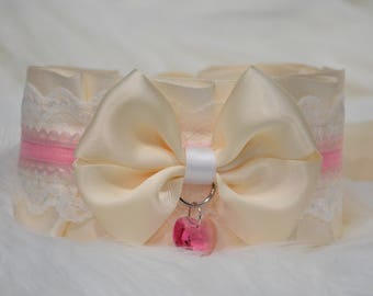 BDSM/DDLG/Kitten Play Ivory and Pink Collar Tug Proof with Pink Swarovski Crystal