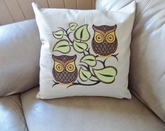 Retro Owls Toss Pillow Cover