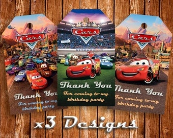 Cars Thank You Tags, Instant Download, Lightning McQueen Tags, Thank You Labels, Disney Cars, Thank You Printables, Birthday Labels, Cars