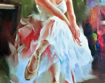 Oil painting, painting as a gift, ballerina, art, gift for her, handsmade, painting on canvas, painting for decoration, painting for home