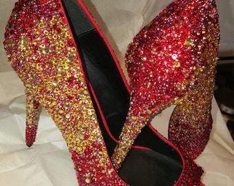 Stunning Rhinestone hand decorated peep toe stilletto shoe graduated colour