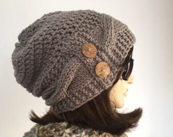 Womens Chunky Knit Hat Taupe Slouchy Hat with Buttons Womens Accessories Fall Fashion Womens Winter