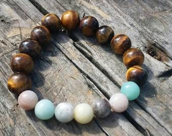Tigers eye and Amazonite bracelet