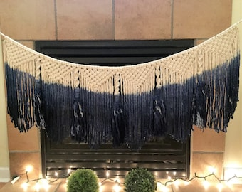Deep sea blue dip dye macrame cotton string tassled bunting