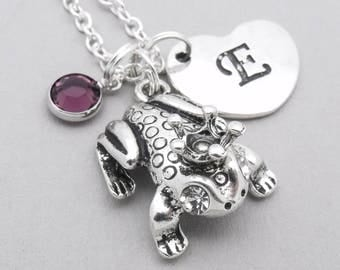 Frog With Crown charm heart necklace | frog charm necklace | frog pendant | personalised frog necklace | frog jewelry | initial letter