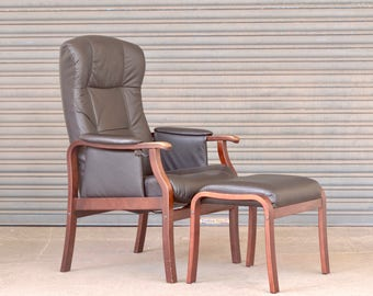 Vintage retro mid century Danish leather adjustable armchair recliner lounge chair with ottoman