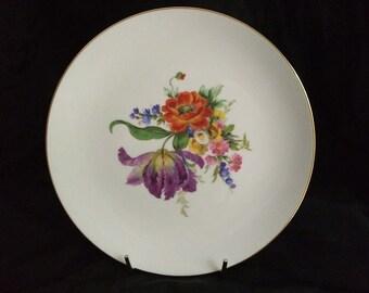 Vintage J K W Bavaria Plate Floral