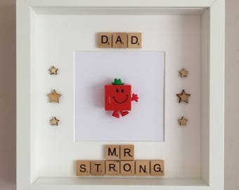 Handmade Scrabble Art Dad/Daddy Mr Men Mr Strong Frame - Father's Day, Birthday, Christmas