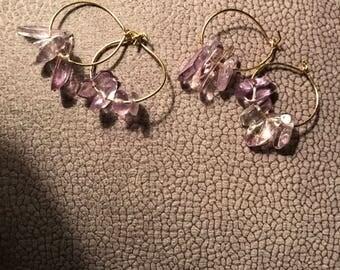 Fluorite hoop ear rings