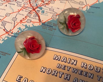 1950s Red Rose Lucite Screw Back Earrings Vintage Hollywood Glamorous