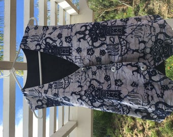 """hand made 'upcycled' vest """"east indian"""" style print"""