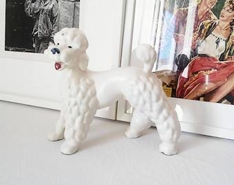 Statue ceramic beautiful size poodle. France 1950