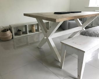 Rustic Reclaimed Pine Trestle Table, Handmade