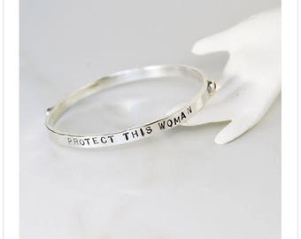 Sterling Silver Bangle with Inspirational Message