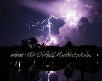 Lightning - Lightning Bolts - Thunder - Storm - Thunderstorm - Nature - Digital Photo - Digital Download - Beach - Water - Pier - Florida