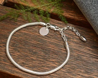 Our Handmade BRACELET 'SILVER CHARMING' for Pandora Charms jewelry 100% Real Stearling Silver S925 + Your own Engrave for Free