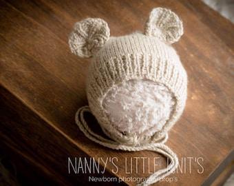 Newborn photography prop Teddy bear hat