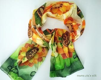 "Silk scarf, hand painted ""Sunflower"""