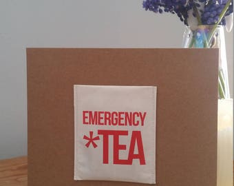 "hand made ""emergancy tea"" card"