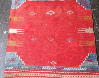 Turkish Vintage Oushak Kılım Rugs,Anatolian Old Kılıms,Home Offıce Decoratıve Rugs Kilims, Home Lıvıng,2'6''x3'x2''feet