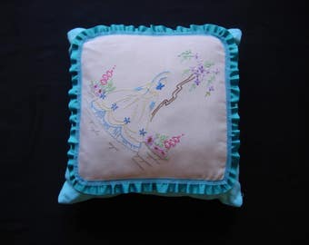 upcycled vintage embroidered fabric frilled cushion turquoise blue