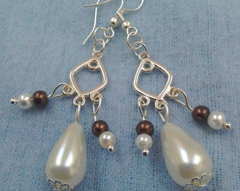 Vintage style Gothic faux pearl chandelier earrings