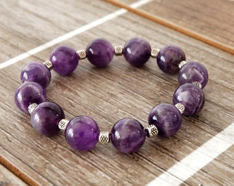 Amethyst Stretch Bracelet with Silver Accent Beads