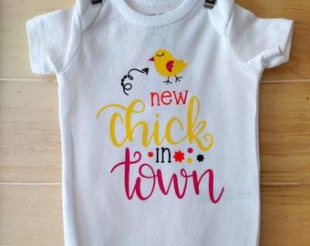 baby onesie, chick baby onesie, easter baby onesie, new chick onesie, new baby onesie, funny baby onesie, girl easter onesie