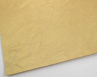 Metallic Old Gold Smooth Faux Leather 8X11, Mustard Yellow Soft Cotton Backing