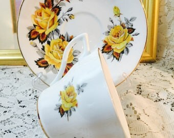 Royal Vale Bone China Tea Cup and Saucer Set - Made In England - Yellow Rose Brown Gray Leaves