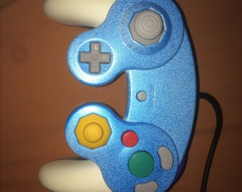 Used Pearlized baby blue and white Gamecube controller