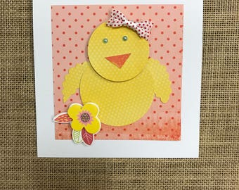 Polka Dot Baby Chick Card/Easter/Birthday/Baby Shower/Just Because