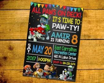 Paw Patrol Birthday Invitation -Paw Patrol Birthday Party Invitation -Paw Patrol Printable Digital File-Paw Patrol Invitation